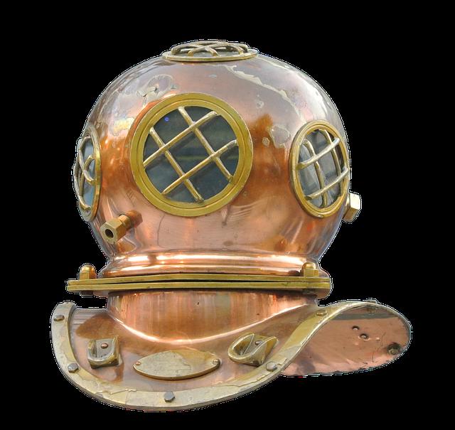 Divers, Helm, Divers Helmet, Diving, Old, Underwater