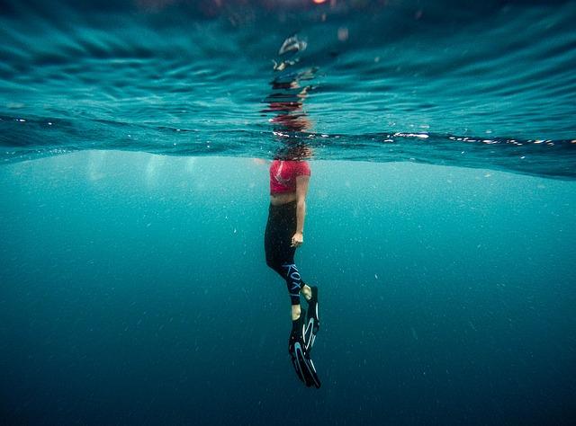 Flippers, Ocean, Person, Sea, Swimming, Underwater