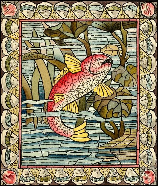 Fish, Underwater, Cubism, Mosaic, Vintage