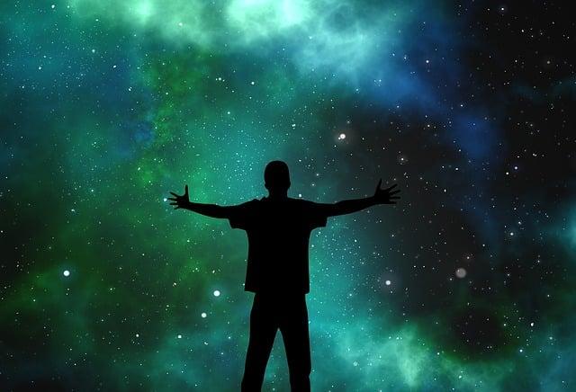 Universe, Person, Silhouette, Star, Joy, Hug, Search
