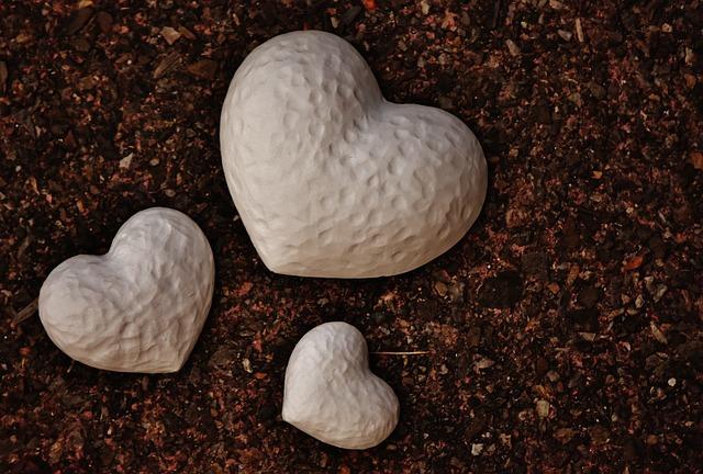 Heart, Gypsum, Blanks, Unpainted, White, Love
