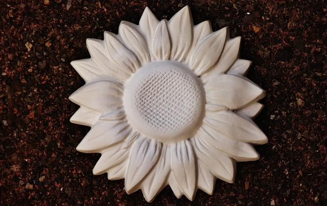 Sun Flower, Gypsum, Blank, Unpainted, White