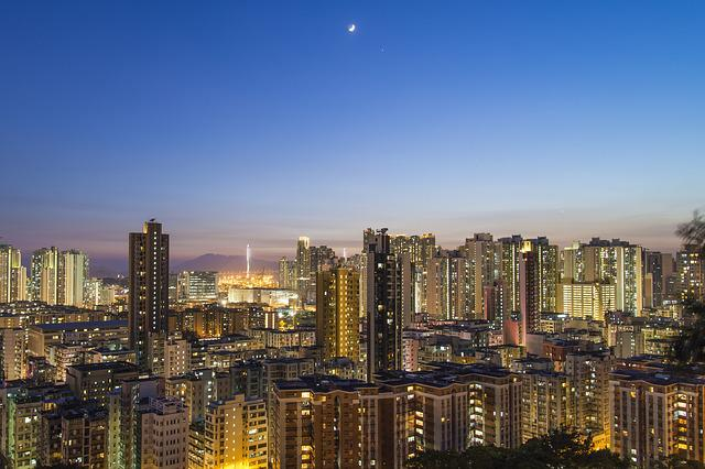 Urban, Moon, City, Skyline, Landscape, Cityscape