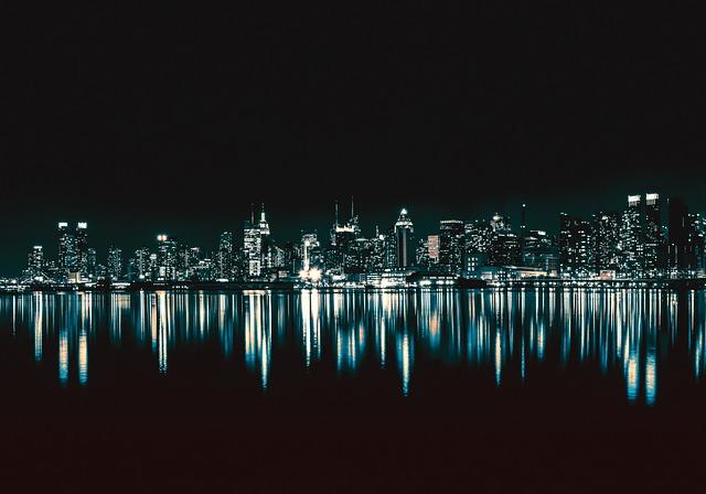 City, Night, Architecture, Urban, Lights, Buildings