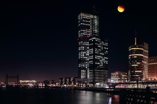 Rotterdam, Night, Moon, Skyscraper, Skyline, Urban