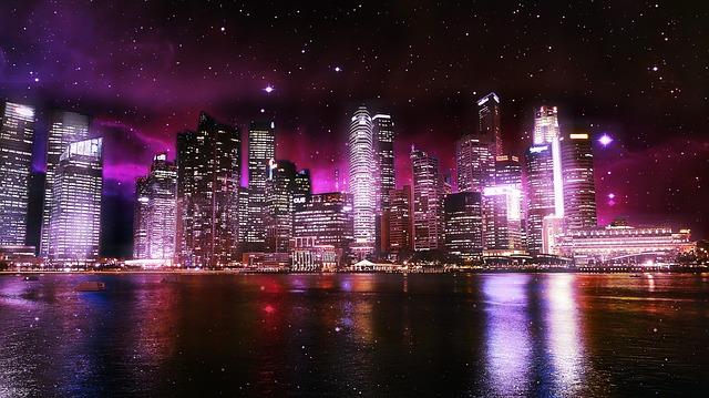 City, Urban, Lights, Water, Sky, Space, Stars