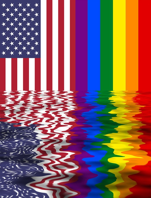 Rainbow Flag, Usa And Lgbt, Two Flags Together, Pride