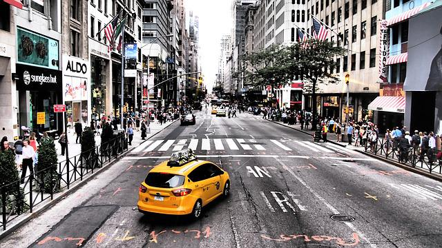 Yellow Cab, Taxi, New York, Road, Auto, Usa