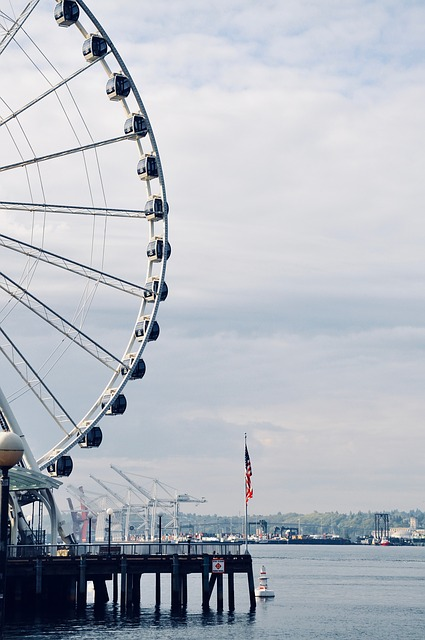 Seattle, America, Usa, Ferris Wheel, City, Water