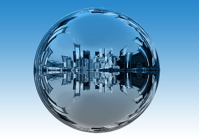 City, Skyscrapers, Ball, Mirroring, Utopia, Utopian