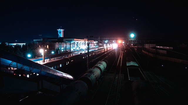 Station, Samarkand, Uzbekistan, Trains, Cars, Night