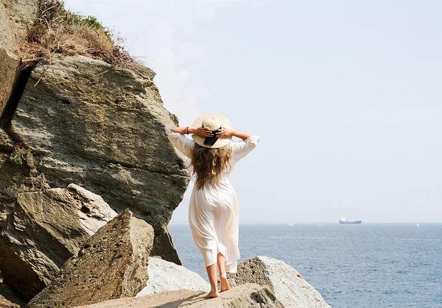 Punta Bianca Beach, Woman, Vacation, Rocks, Tourist