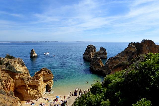 Bay, Lagos, Vacations, Algarve, Rock, Portugal, Sea