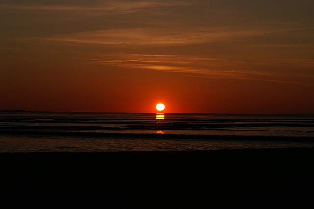 Sunset, Wadden Sea, North Sea, Mainland, Vacations