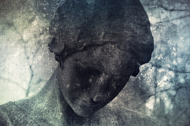 Vaguely, Face, Woman, Stone, Dark, Emotions, Stilled