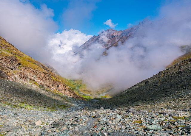 Landscape, Mountains, Valley, Clouds, Valais