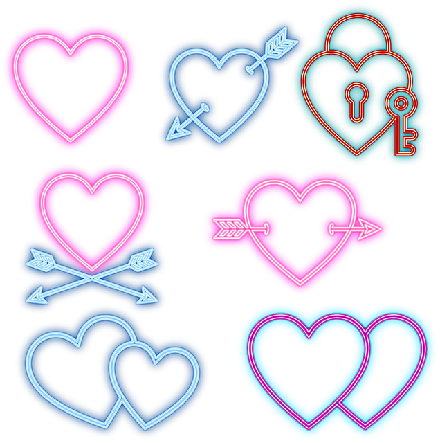 Neon Valentine Hearts, Hearts, Neon, Love, Valentine