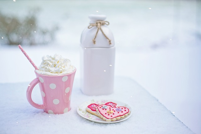 Valentine's Day, Hot Chocolate, Heart Cookies, Milk Jug