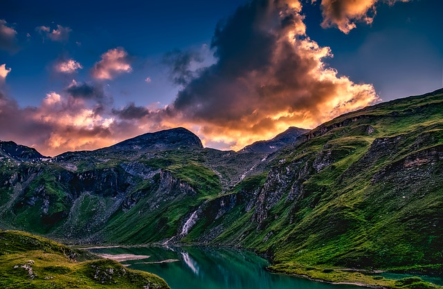 Austria, Mountains, Valley, Ravine, Lake, Waterfall