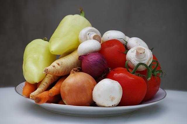 Vegetables, Varied, Healthy, Tomatoes, Mushrooms