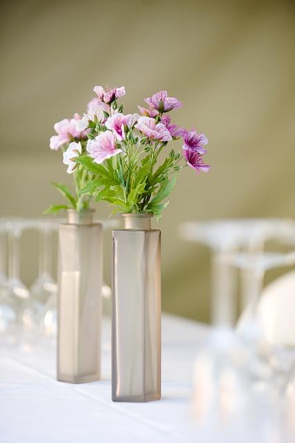 Flowers, Vase, Dinner Party, Setting, Table Setting