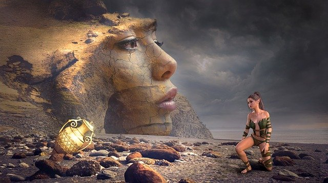 Fantasy, Beach, Woman, Face, Rock, Treasure, Gold, Vase
