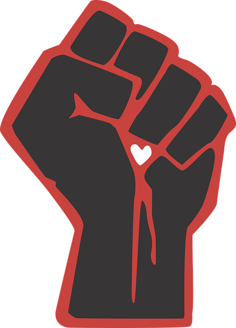 Fist, Love, Heart, Vector, Black, Red, Fight, Power