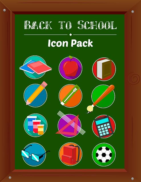 Back To School, Icons, Vector, School