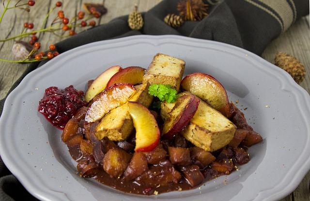 Tofu, Plum, Vegan, Wild Dish, Cranberries, Autumn