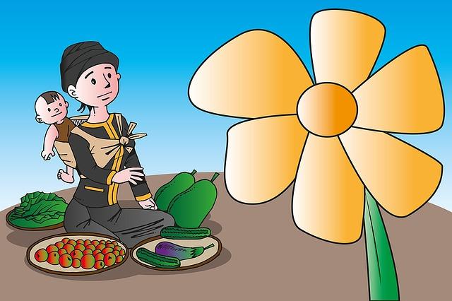 Market, Identity, Seller, Vegetables, Burmese, Flower