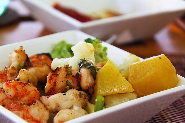 Prawn, Potato, Vegetables, Food, Salads, Delicious