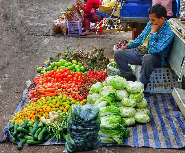 Market, Trader, Sell, Mixed, Fruit, Vegetables, Fresh
