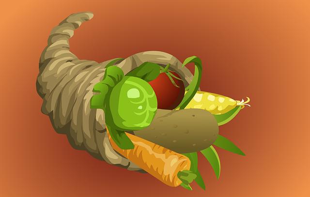 Cornucopia, Thanksgiving, Horn Of Amaltheia, Vegetables