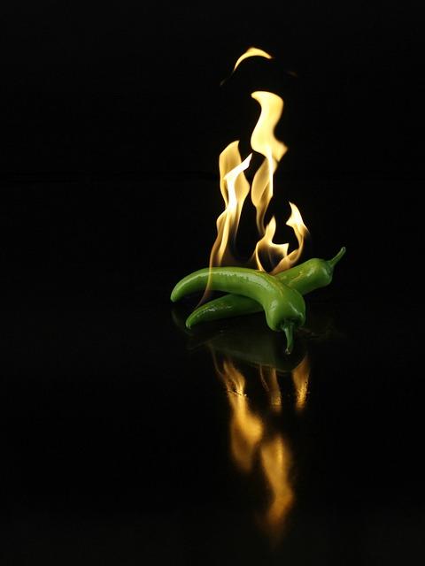 Hot Pepper, Pepper, Fire, Food, Green, Hot, Vegetables