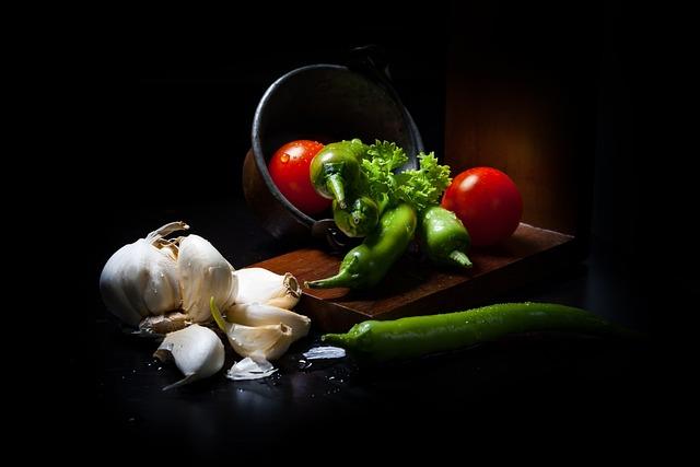 Dark Mood Food, Vegetables, Lichtspiel, Rembrandt Light