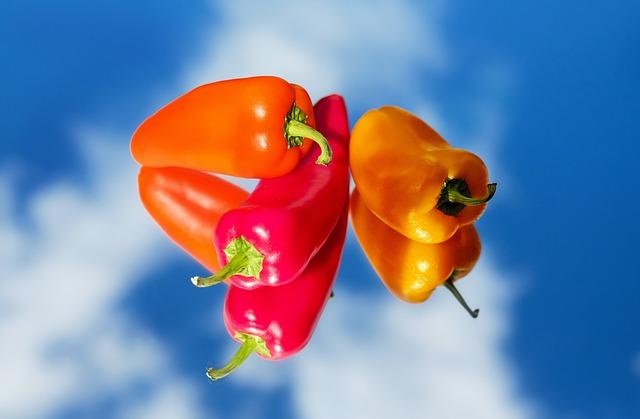 Paprika, Vegetables, Red, Yellow, Orange, Mirroring