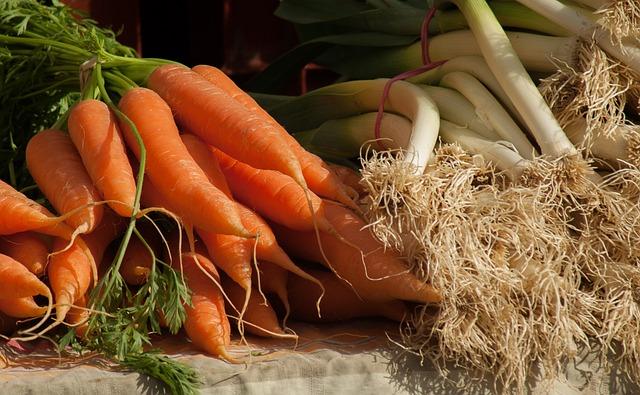 Carrots, Leeks, Vegetables, Market, Vegetable Garden