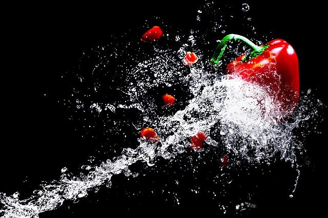 Water, Paprika, Vegetables, Water Splashes, Vegetarian