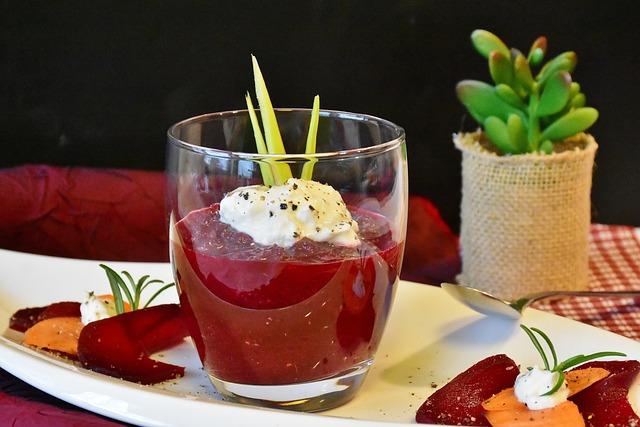 Beetroot, Soup, Soup In Glass, Starter, Vegetarian