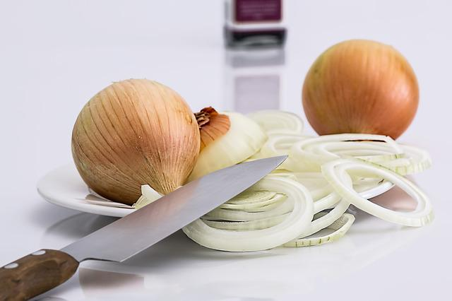 Onion, Slice, Knife, Food, Ingredient, Raw, Vegetarian
