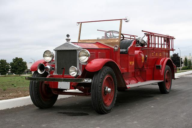 Fire Truck, Fire, Red, Vintage, Old, Historic, Vehicle