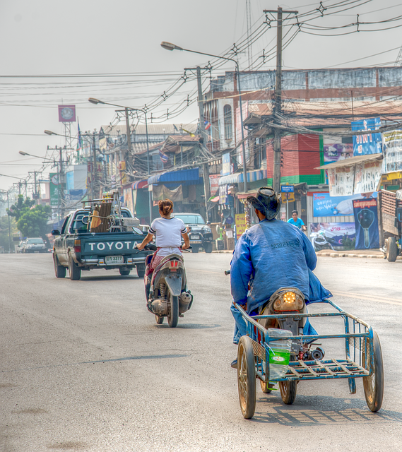 City, Motorbike, Man, Woman, Billboard, Vehicle, Person