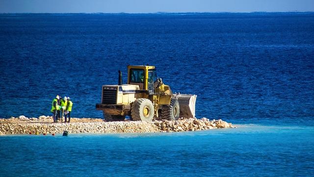Bulldozer, Vehicle, Workers, Construction, Marina