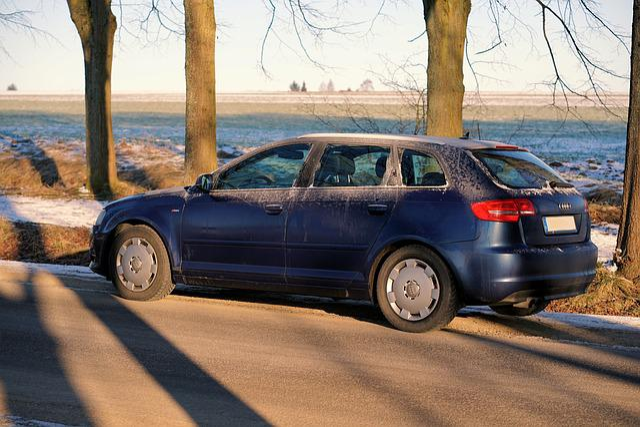 Auto, Vehicle, Transport System, Audi, Blue, Winter