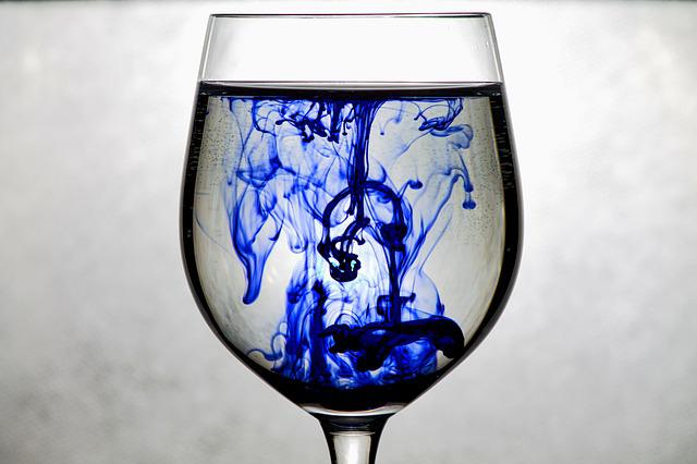 Ink, Glass, Blue, Water, Art, Color, Liquid, Veil