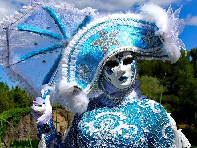 Mask Of Venice, Venice, Carnival Venice, Blue Girl
