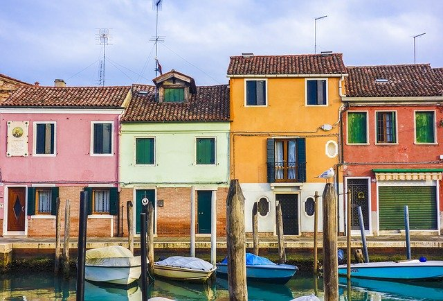 Houses, Boats, Street, Canal, Venice, Murano, Window