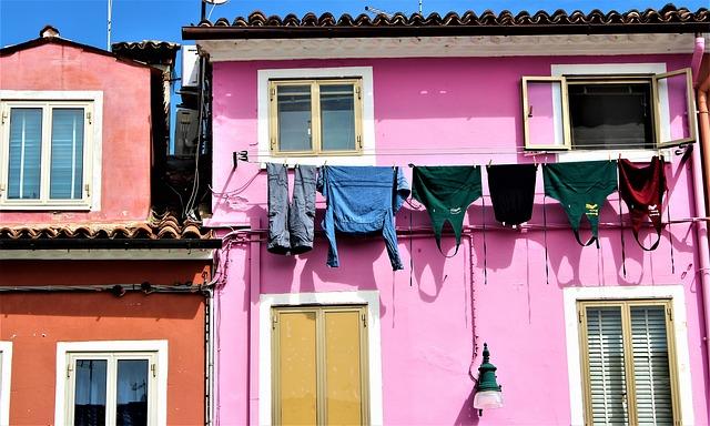 Venice, Burano, Italy, Washing, Buildings, Architecture