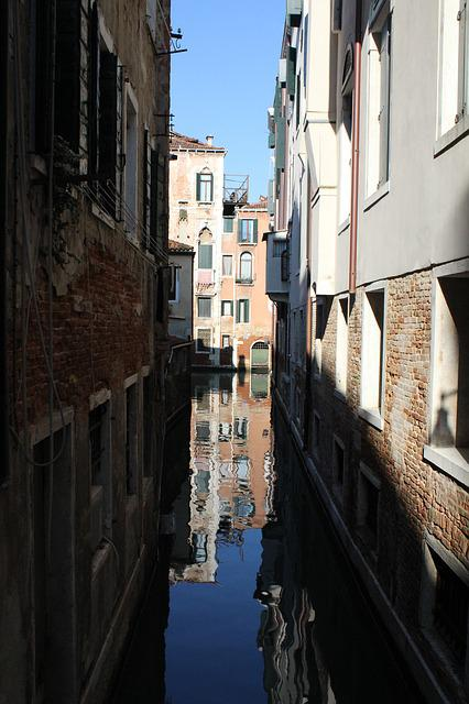 Venice, Channel, Gondola, Reflection, Symmetry, Veneto