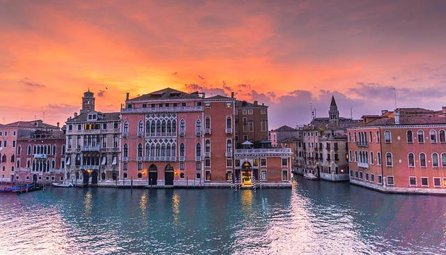 Venice, Italy, Sunset, Grand Canal, Architecture